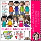Jesus loves Children clip  art - Black and White - Melonheadz Illustrating