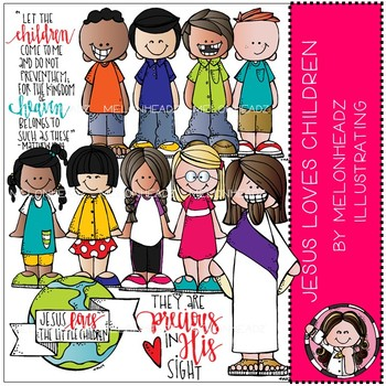 Jesus loves Children clip art - COMBO PACK - Melonheadz Illustrating