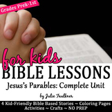 Jesus's Parables NO PREP Bible Lessons Coloring, Crafts, Religious, 4 Stories