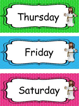 Jesus themed Days of the Week Labels. Preschool-KDG. Bible bulletin board.