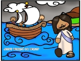 Jesus walks on water craft and color sheet
