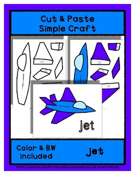 Jet  - Cut & Paste Craft - Super Easy perfect for Pre-K & Kindergarten