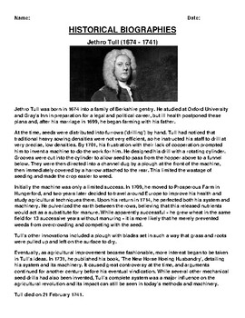 Jethro Tull  Biography Article and (3) Assignments