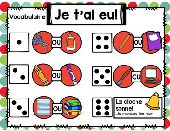 Jeu Je t'ai eu! À l'école (FRENCH School-themed Gotcha! Game)