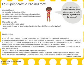 Jeu: Les super-héros à la ville des mots