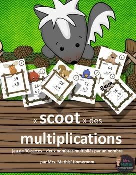 """Jeu """"Scoot"""" de multiplications, 2 nombres multipliés par 1 nombre"""