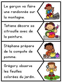 Jeu d'association - Lecture - Phrases images - Automne - Sentence Picture Match