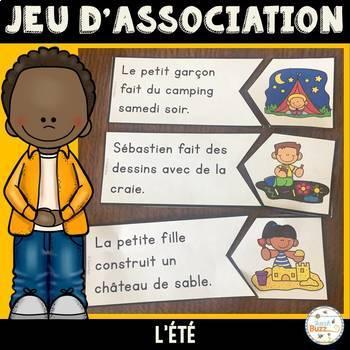 Jeu d'association - Lecture - Phrases images - L'été - Sentence Picture Matching