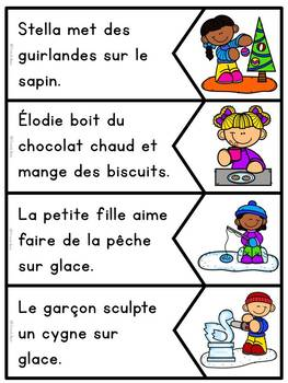 Jeu d'association - Lecture - Phrases images - L'hiver - Sentence Picture Match