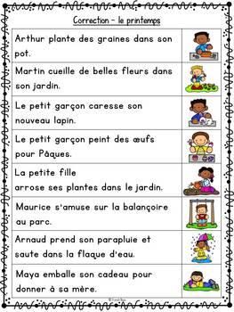Jeu d'association - Lecture - Phrases images- Printemps - Sentence Picture Match