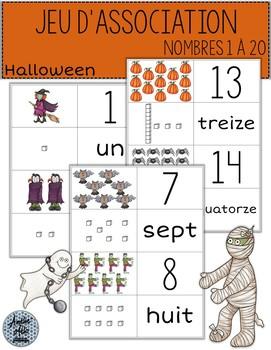 Jeu d'association - Nombres 1 à 20 - Halloween