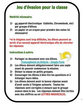 Jeu d'évasion avec Google Forms (French Escape Room):  Francophonie en Ontario