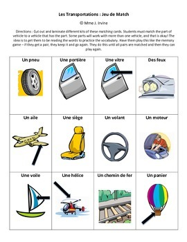 Jeu de Match: Les transportations