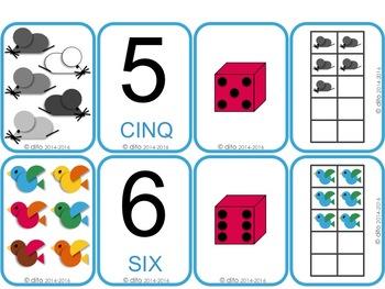Jeu de carte des nombres jusqu'à dix