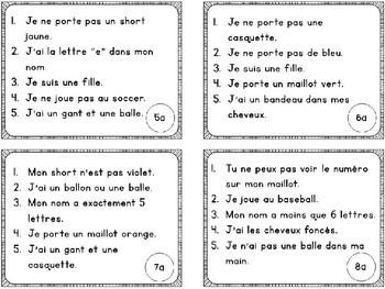 Jeu de comprehension de lecture Les sports au parc// French reading game