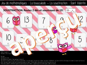 Jeu de math- La bousculade - SOUSTRACTIONS -ST-VALENTIN (FRENCH FSL)