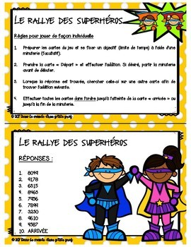 "FRENCH MATH GAME - Jeu de math ""Rallye des superhéros"" - Addition 4 chiffres"