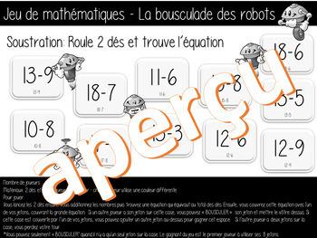 Jeu de mathématiques - LA SOUSTRACTION - La bousculade des robots - (French-FSL)