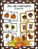 Jeu de mémoire - l'automne