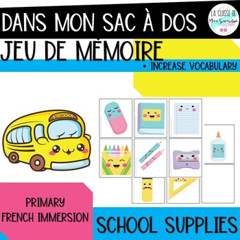 Jeu de mémoireI French back to school vocabulary memory game