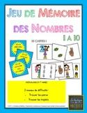 Jeu de mémoire (memory) sur les représentations des nombres 1 à 10