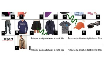 Clothing: a fun board game to learn. Can be played at diff