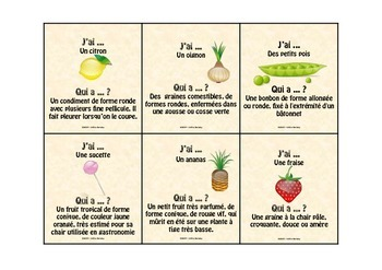 """Jeu de vocabulaire : Les aliments """"J'ai ... qui a"""""""