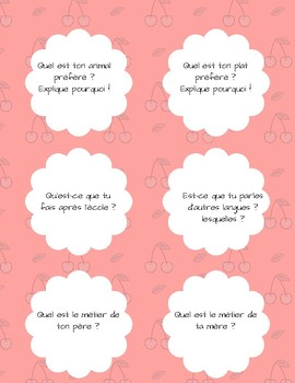 French tasks cards for oral practice A1/A2
