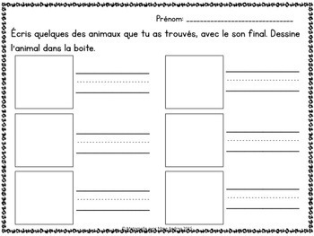 Jeu/Centre - Sons finaux (FRENCH Ending Sounds Game/Literacy Centre)