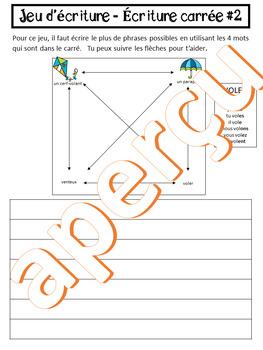 Jeux d'écriture - ÉCRITURE CARRÉE - LE PRINTEMPS (FRENCH FSL)