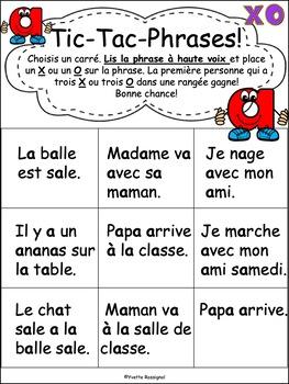 """Jeux de Mots (Le son """"a"""") Ateliers, No Prep, French Phonics, French immersion)"""