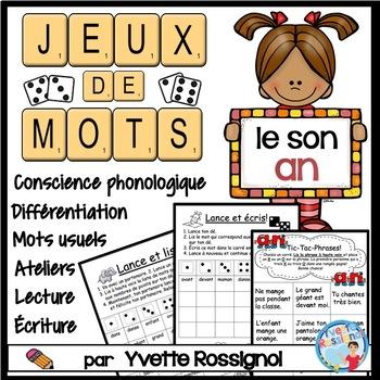 """Jeux de Mots (Le son """"an"""") Ateliers, No Prep, French Phonics, French immersion)"""
