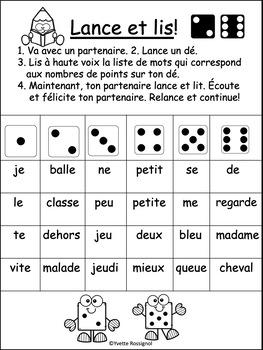 """Jeux de Mots (Le son """"e"""") Ateliers, No Prep, French Phonics, French immersion)"""