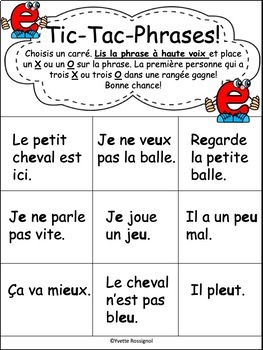 JEUX DE MOTS FRÉQUENTS POUR LE SON E - FRENCH PHONICS GAMES WITH SIGHT WORDS