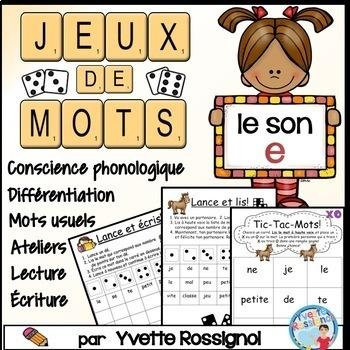 """Jeux de Mots (Le son """"e"""") Ateliers, No Prep, French Phonic"""