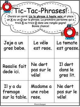 JEUX DE MOTS FRÉQUENTS POUR LE SON O - FRENCH PHONICS GAMES WITH SIGHT WORDS