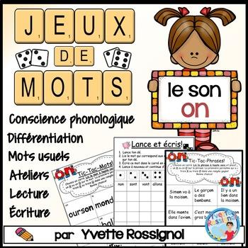 """Jeux de Mots (Le son """"on"""") Ateliers, No Prep, French Phoni"""