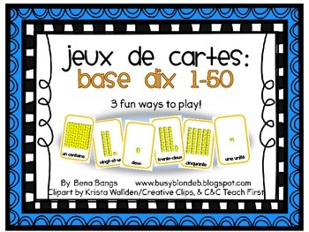 {Jeux de cartes} Card games to practice Base Ten numbers 1-50!