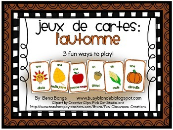 {Jeux de cartes: L'automne!} Card games for practicing French vocabulary