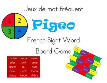 Jeux de mot Pigeo French Sight word board game