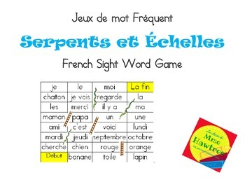 Jeux de mot Serpent et Echelle - Sight Word Game Snakes and Ladders