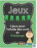 Jeux pour l'étude de mots printemps/ French spring words games