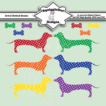 Jewel Dotted Doxies Clip Art