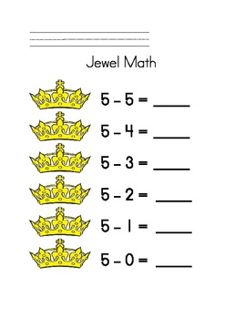 Jewel Subtraction: 1 pg for ea number 2-10, Hands-on Common Core