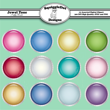 Jewel Tone Puffy Brads Clip Art