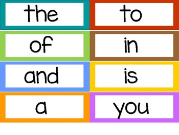 Jewel Tone Word Wall Sight Words 8 per page