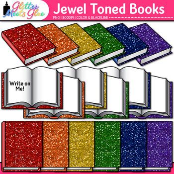 Jewel Toned Reading Book Clip Art: School Clip Art {Glitter Meets Glue Designs}