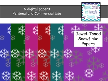 Digital Papers: Jewel Toned Snowflake Papers