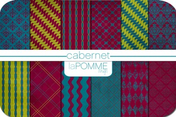 Jewel Tones Cabernet Patterned Digital Paper Pack