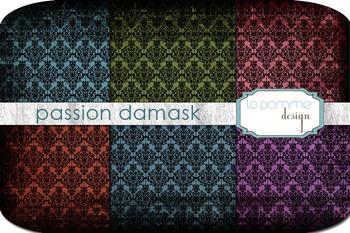 Jewel Tones Damask Patterned Digital Paper Pack